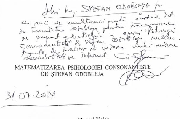 Centenar Odobleja, Matematizarea psihologiei consonantiste, autori Marcel și Ileana Voica, 2002